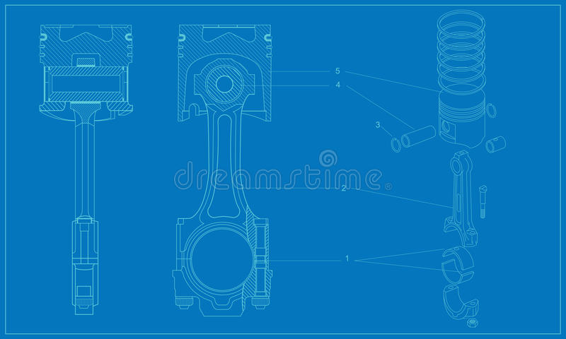 Download Complicated Machinery Technical Piston Drawing Stock Image - Image: 29625667