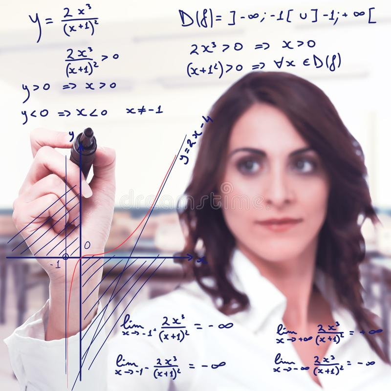 Complicated mathematical function. Intelligent woman solve a complicated mathematical function royalty free stock image