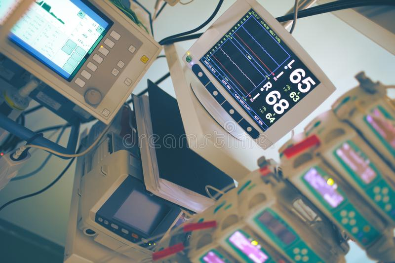 Complicated medical equipment. For life support monitoring in the critical care unit stock photo