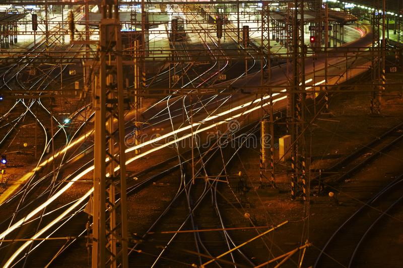 Complicated rail network. Prague Main Railway Station, July 2010 royalty free stock photography