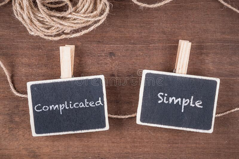 Complicated and Simple Wood Sign royalty free stock images