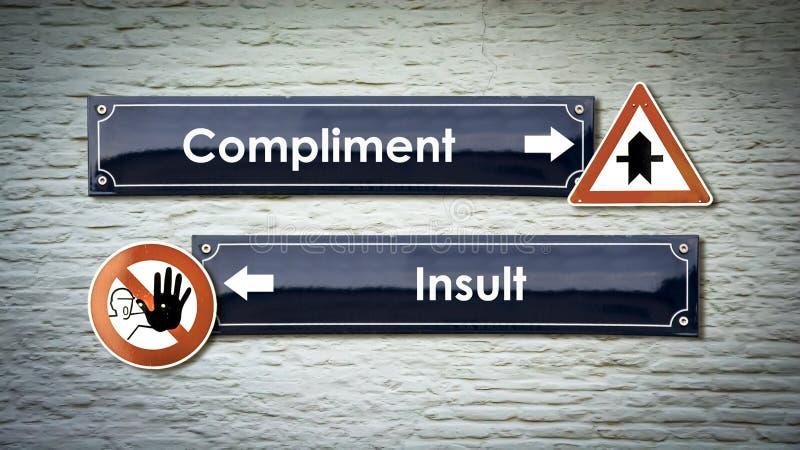 Compliment de plaque de rue contre l'insulte images libres de droits
