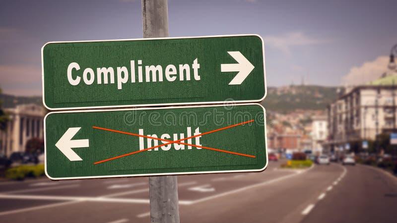 Compliment de plaque de rue contre l'insulte photos stock