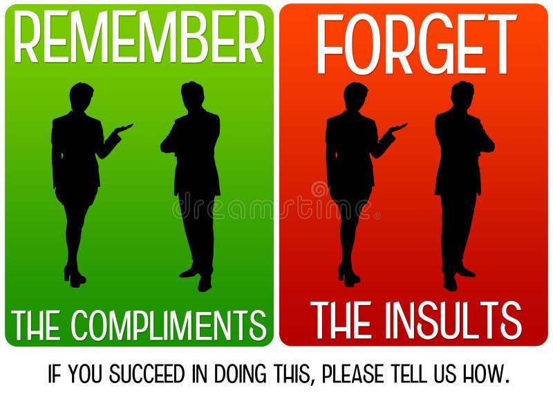 Complimenten en beledigingen vector illustratie