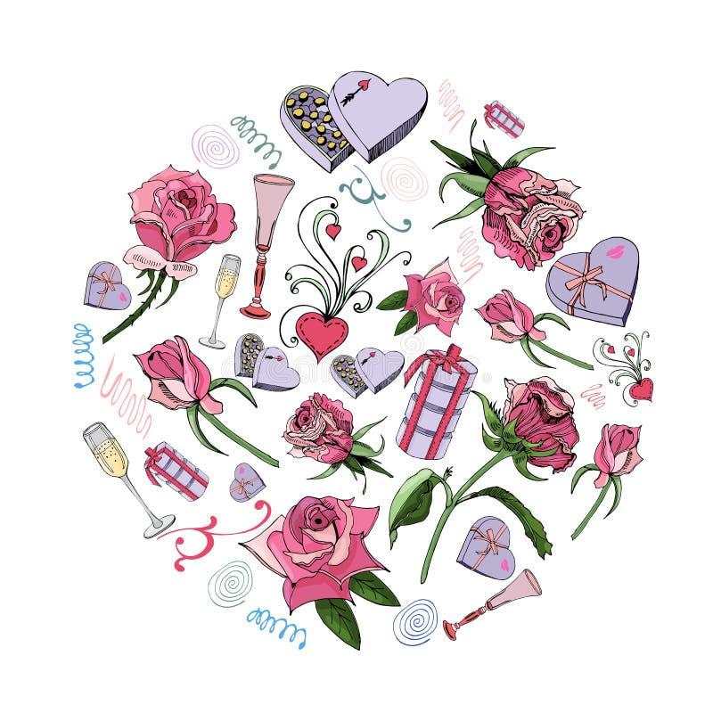 Compoition do círculo de flowes cor-de-rosa com as folhas, os doces e outros objetos diferentes isolados no fundo branco Esboço d ilustração stock