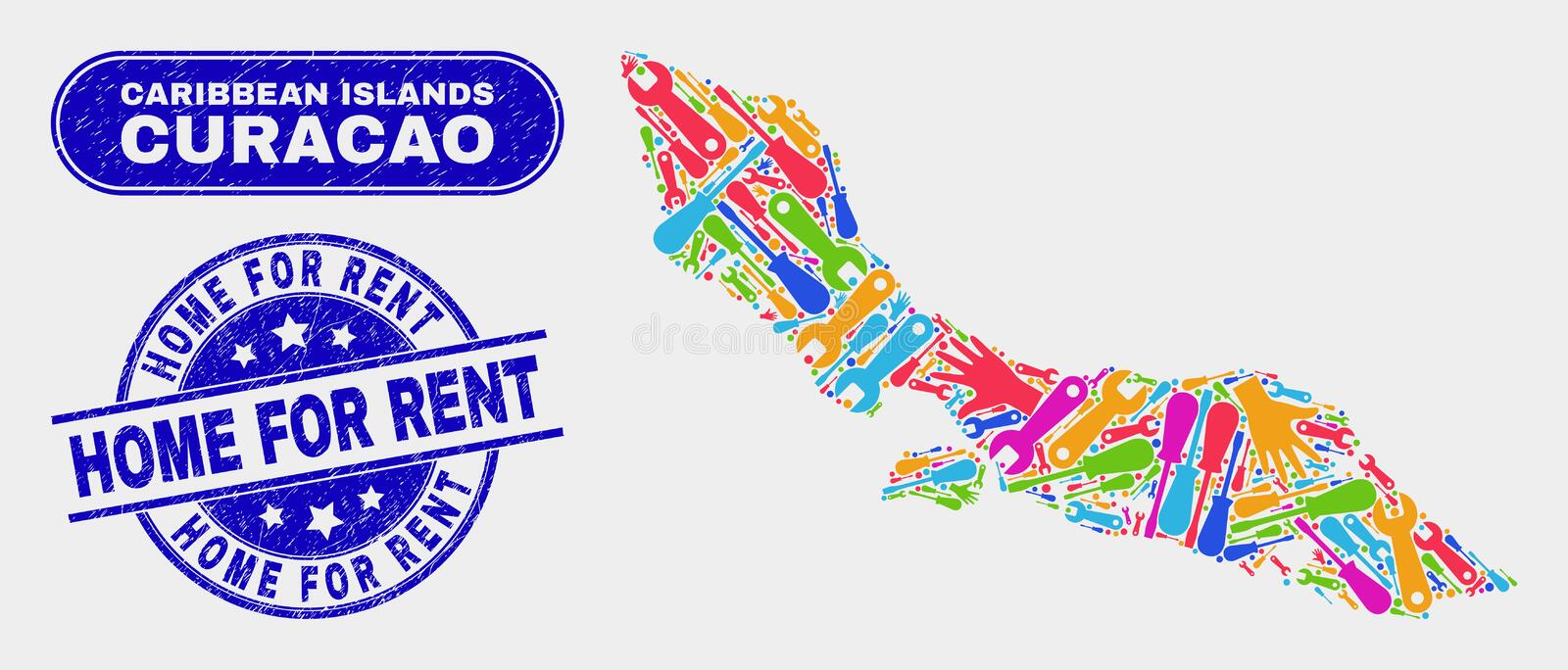 Component Curacao Island Map and Scratched Home for Rent Stamp Seals. Tools Curacao Island map and blue Home for Rent distress stamp. Colored vector Curacao stock illustration