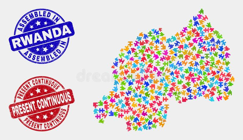 Component Rwanda Map and Grunge Assembled and Present Continuous Watermarks vector illustration