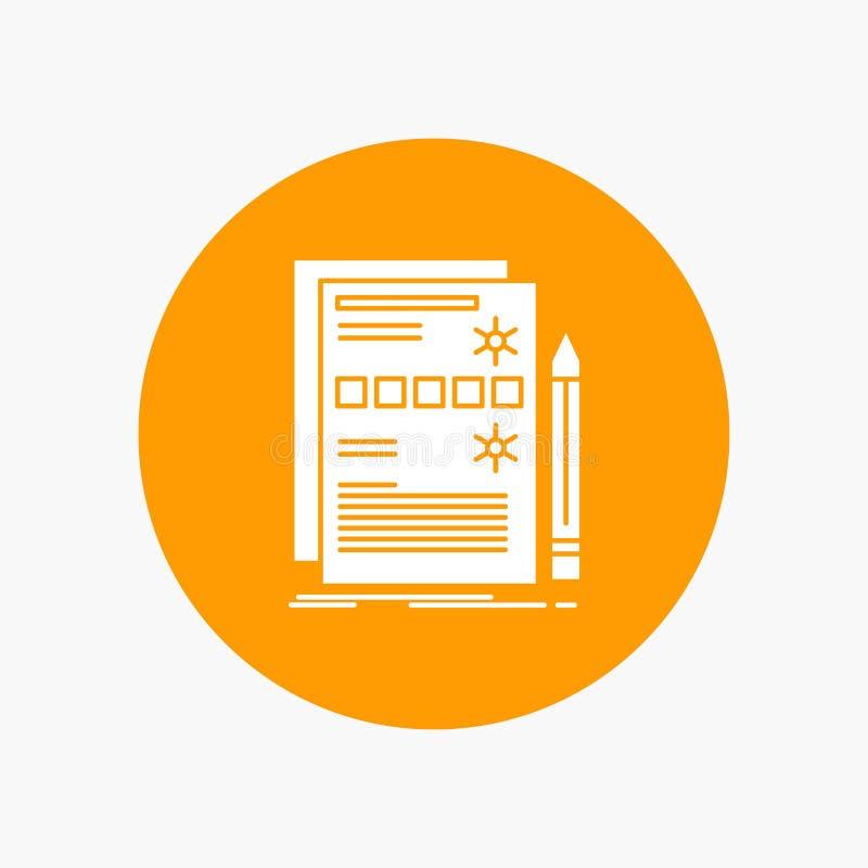 Componente, dados, projeto, hardware, ícone branco do Glyph do sistema no círculo Ilustra??o do bot?o do vetor ilustração stock