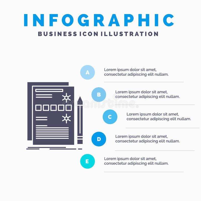 Componente, dados, projeto, hardware, molde do sistema Infographics para o Web site e apresentação ?cone cinzento do GLyph com az ilustração do vetor