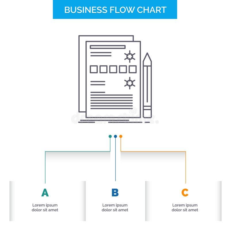 Componente, datos, diseño, hardware, diseño del organigrama del negocio del sistema con 3 pasos L?nea icono para la plantilla del ilustración del vector