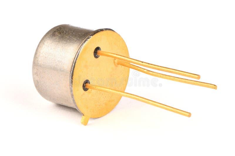 Componente do rádio do Ld, o transistor poderoso do semicondutor com os contatos cobertos com o ouro imagens de stock