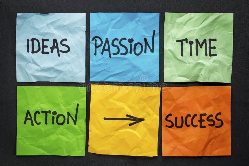 Componentes del concepto del éxito en notas pegajosas imagenes de archivo