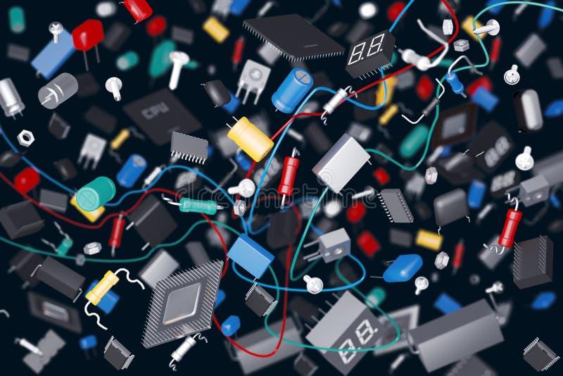 Componentes electrónicos stock de ilustración