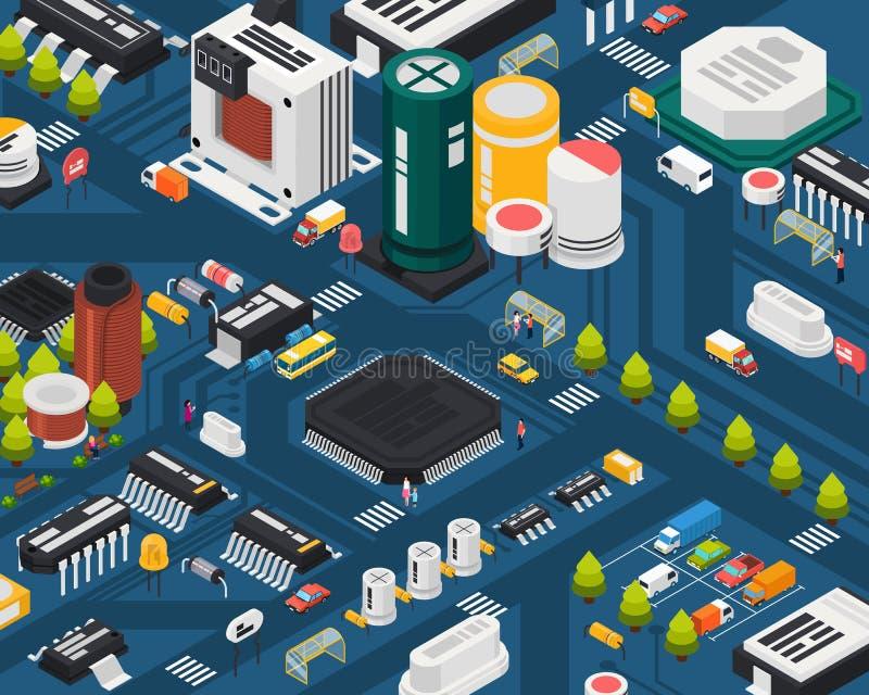 Componentes electrónicos coloreados del semiconductor stock de ilustración