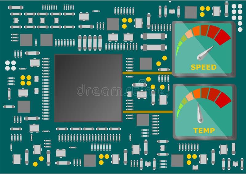 Componentes electrónicos del semiconductor montados en el circuito impreso ilustración del vector