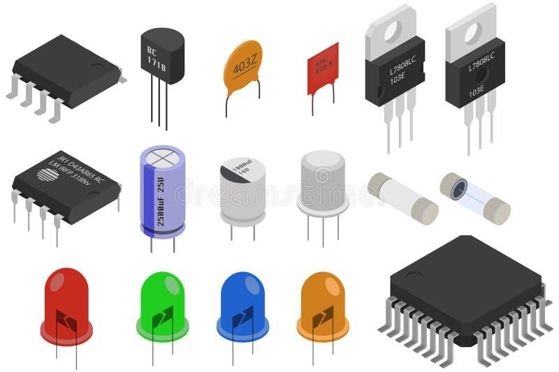 Componentes electrónicos isométricos stock de ilustración