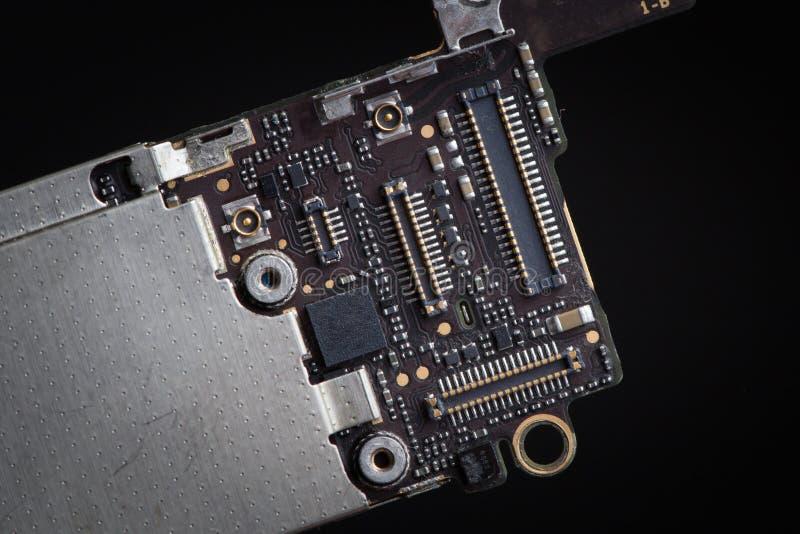 Componentes elegantes del teléfono, placa de circuito del teléfono móvil móvil, PWB, conectores fotos de archivo libres de regalías