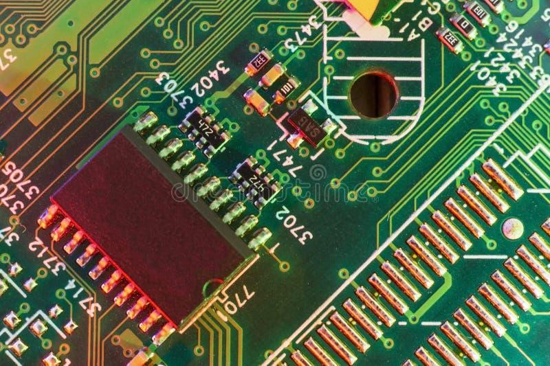 Componentes eletr?nicos da placa, microplaqueta digital do cart?o-matriz Fundo da ci?ncia da tecnologia fotos de stock