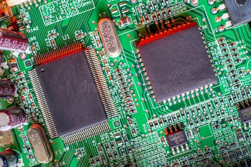 Componentes eletr?nicos da placa, microplaqueta digital do cart?o-matriz Fundo da ci?ncia da tecnologia imagens de stock