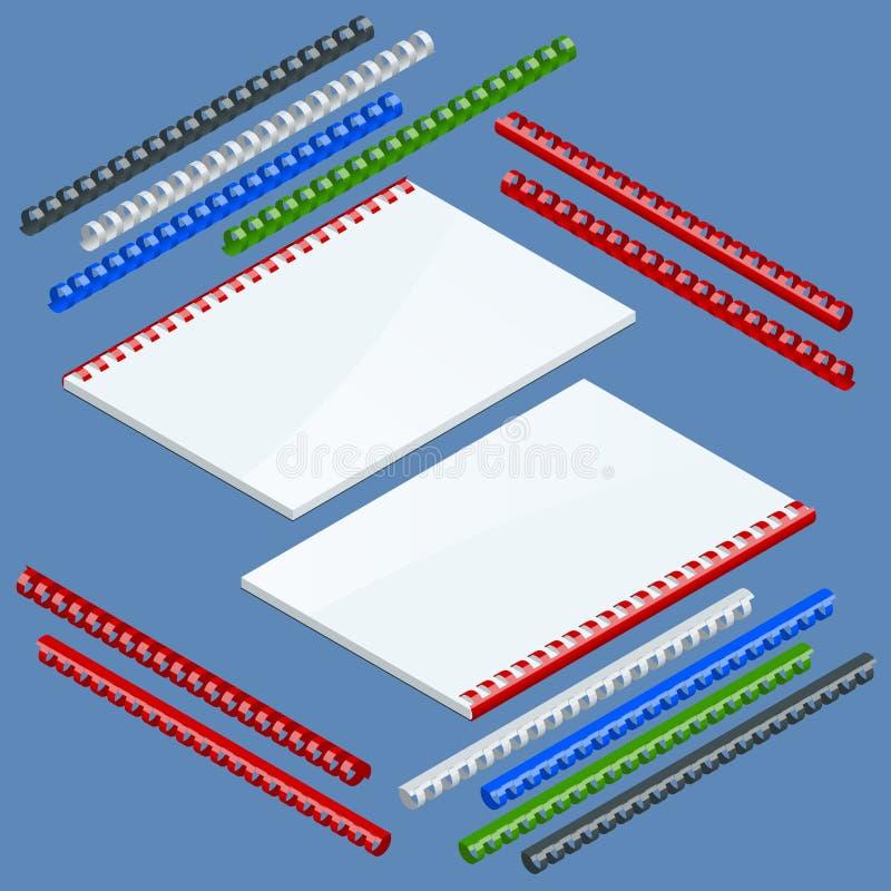 Componentes y primaveras obligatorios para sujetar de catálogos, primaveras plásticas del documento isométrico para atar Vector ilustración del vector