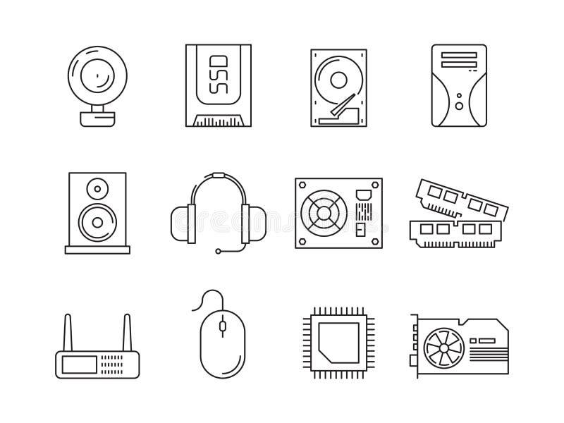 Componenti del pc dell'hardware Simboli della linea icone di vettore di ram dello SSD del server dell'unità di elaborazione degli illustrazione vettoriale