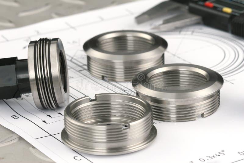 Componenti di misurazione del metallo fotografia stock libera da diritti