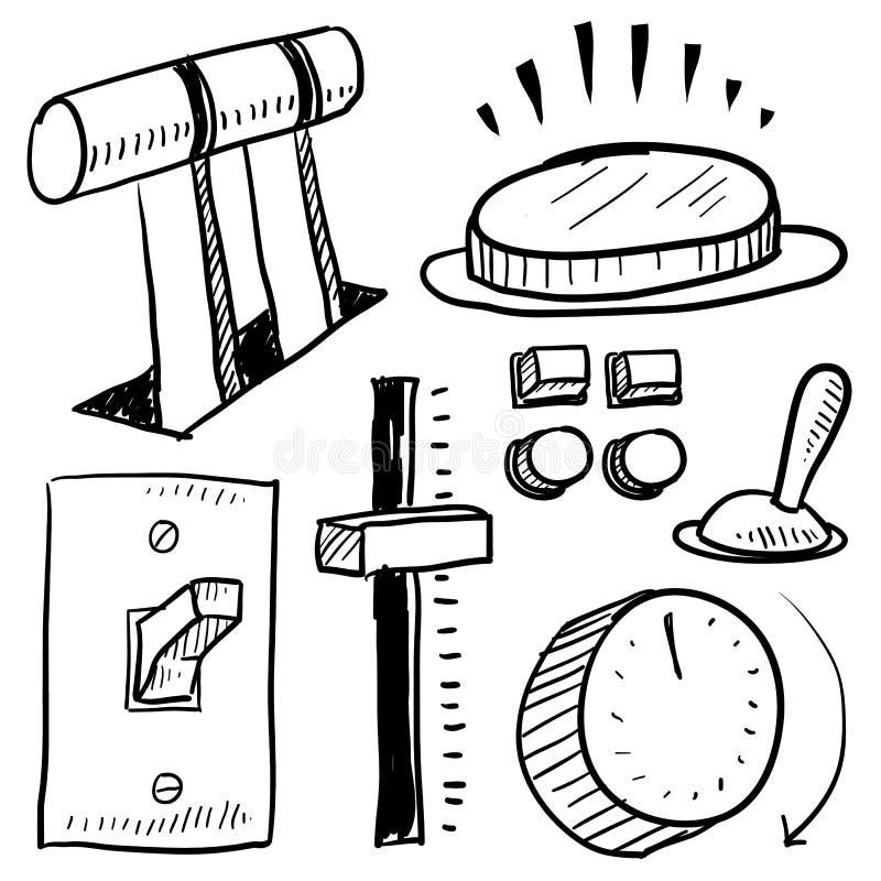 Componenti elettriche ed abbozzo di comandi illustrazione vettoriale