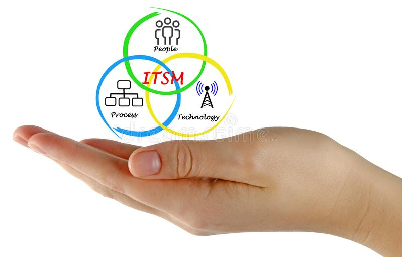 Components of ITSM. Woman presenting Components of ITSM royalty free stock photo