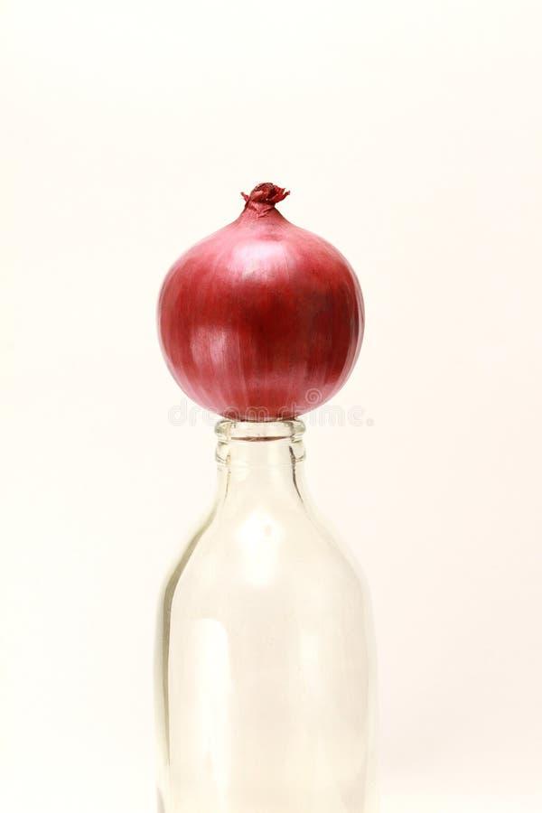 Componga de la cebolla roja en la botella clara foto de archivo