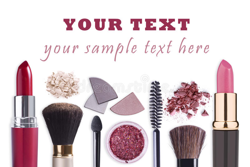 Componga el fondo fijado los cosméticos foto de archivo