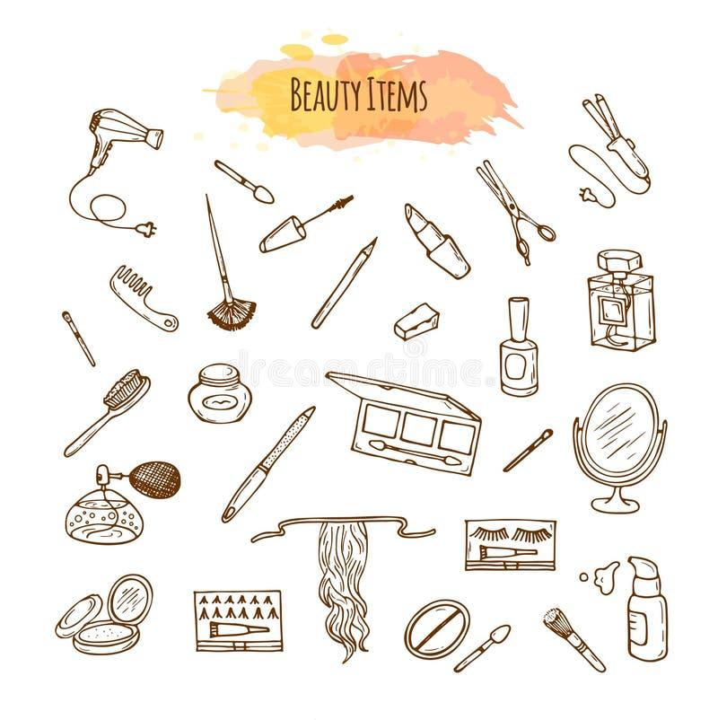 Componga el sistema dibujado mano Artículos de la belleza del garabato libre illustration