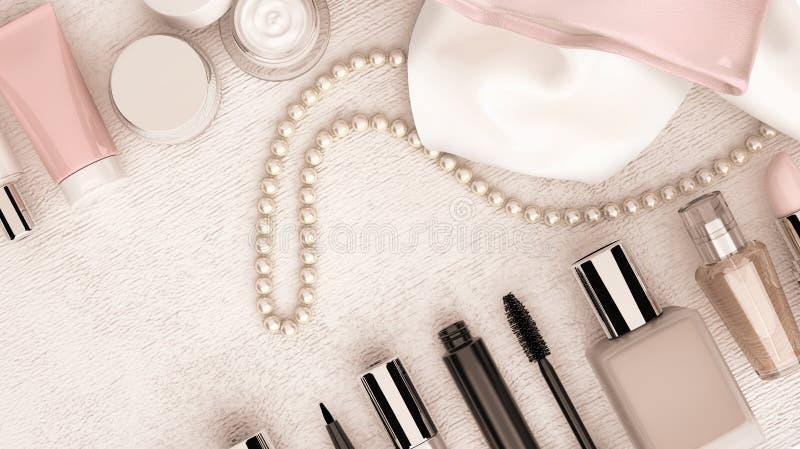 Componga la borsa e la serie di perle situate sul BAC di legno bianco fotografia stock libera da diritti