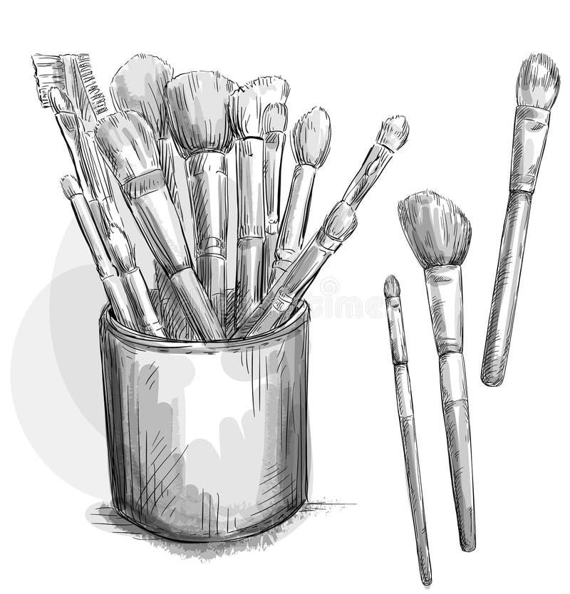 Componga la colección de los cepillos. caso del maquillaje. Moda i stock de ilustración