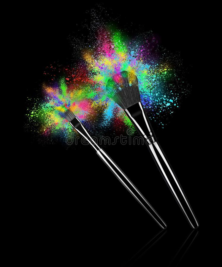 Componga los cepillos con explosiones del primer colorido del polvo fotografía de archivo libre de regalías