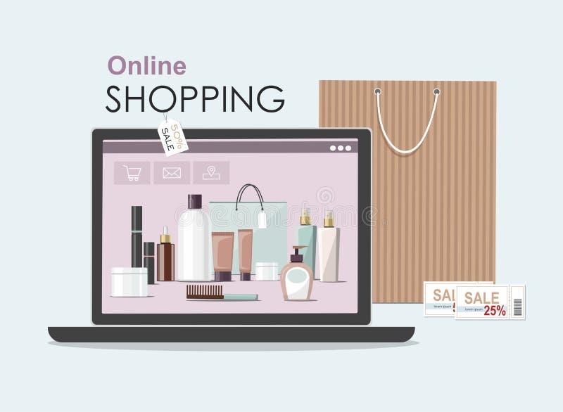 Componga los productos en el ordenador portátil con el bolso cosmético Concepto en l?nea de las compras stock de ilustración