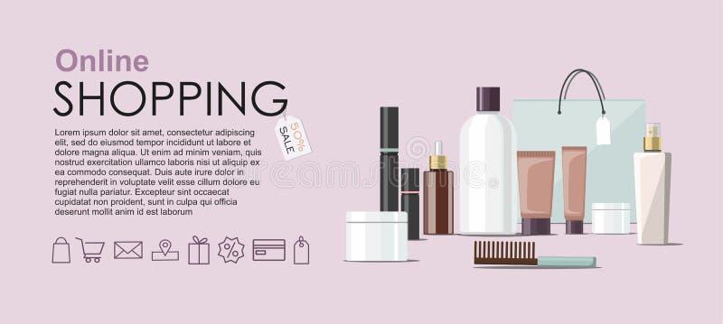 Componga los productos y Skincare que empaquetan con el bolso cosmético Bandera en l?nea del web de las compras stock de ilustración
