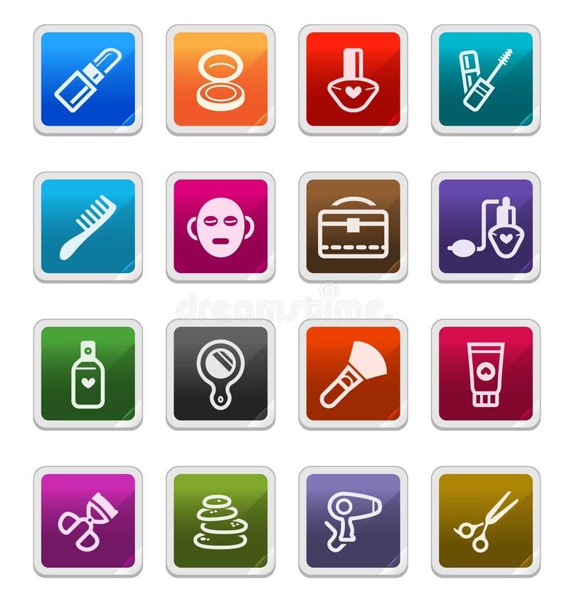 Componga y los iconos de la belleza - serie de la etiqueta engomada stock de ilustración