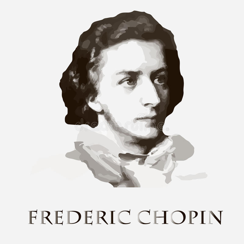 Componist Frederic Chopin Vector portret royalty-vrije illustratie
