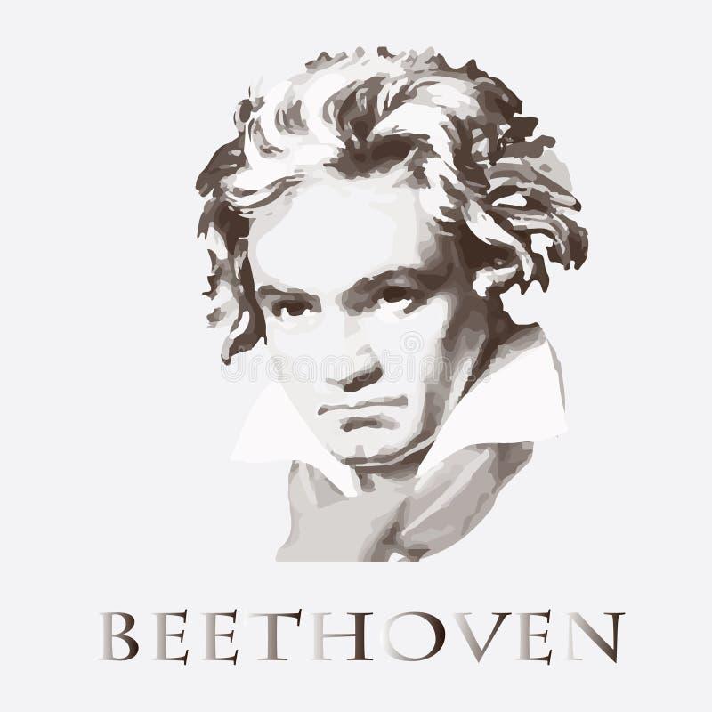 Componist Ludwig van Beethoven Vector portret vector illustratie