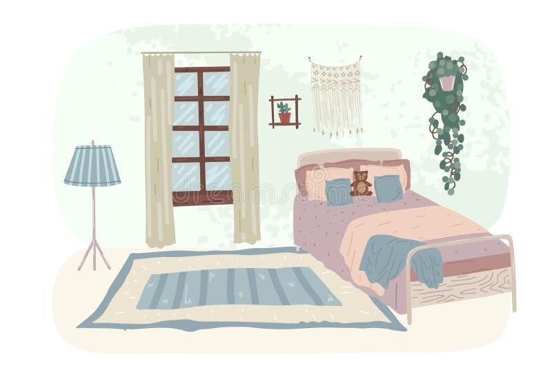 Compor o interior do quarto infantil no estilo escandinavo Ilustração vetorial ilustração stock