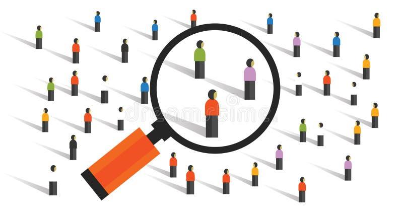 Comportamenti di folla che misurano ricerca sociale della popolazione di esperimento di costanti campionarie della società illustrazione di stock