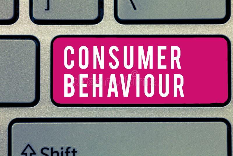 Comportamento del consumatore del testo di scrittura di parola Concetto di affari per le decisioni che la gente prende per compra fotografia stock