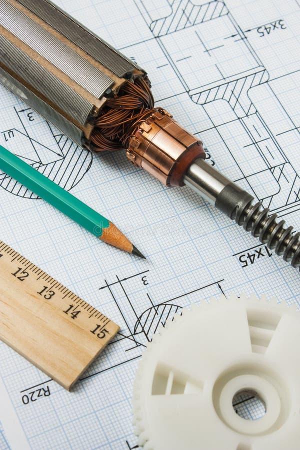 Composants électriques et outils de mesure de papeterie photographie stock