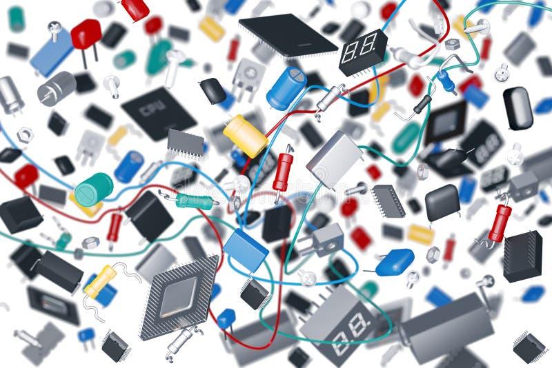 Composants électroniques micro illustration stock