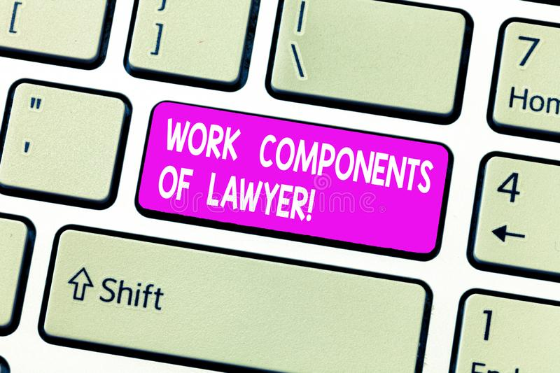 Composants de travail des textes d'écriture d'avocat Concept signifiant la clé de clavier d'accords de décisions de documents de  images libres de droits