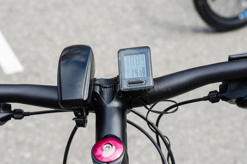 Composants du phare et du tachymètre de bicyclette image stock
