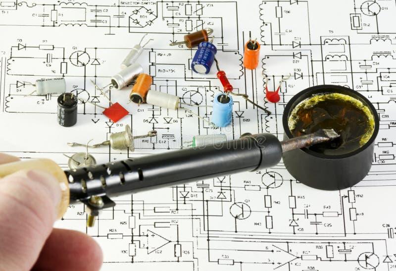 Composants par radio de soudure images libres de droits