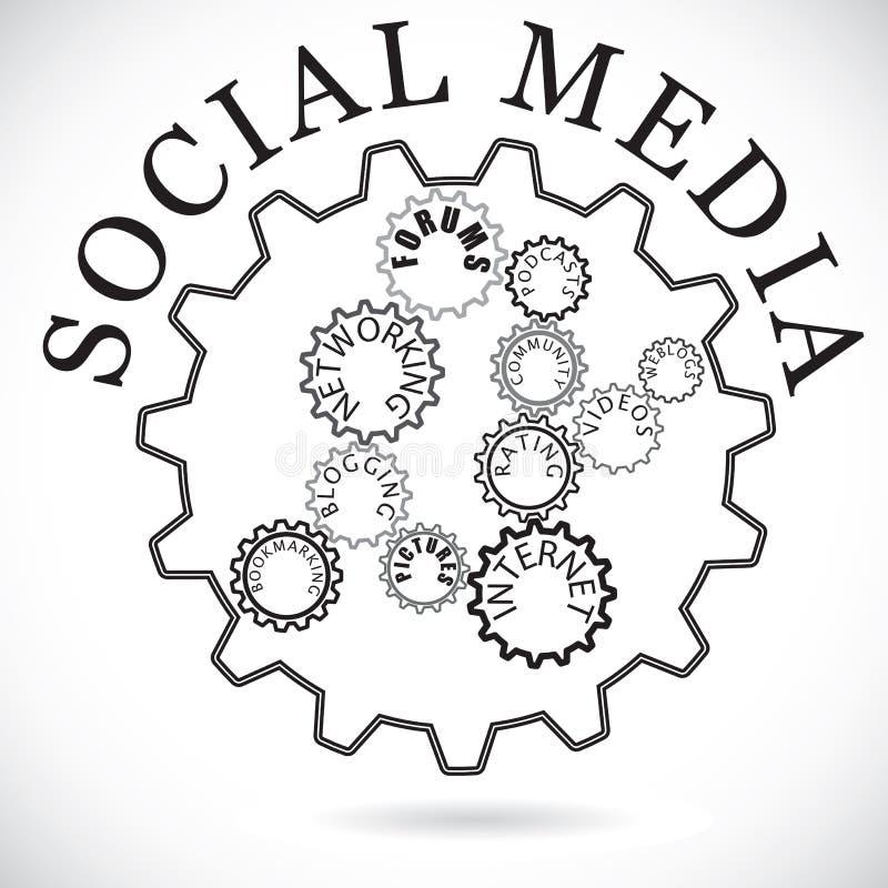 Composants sociaux de medias affichés comme roues dentées dans la synchro illustration libre de droits