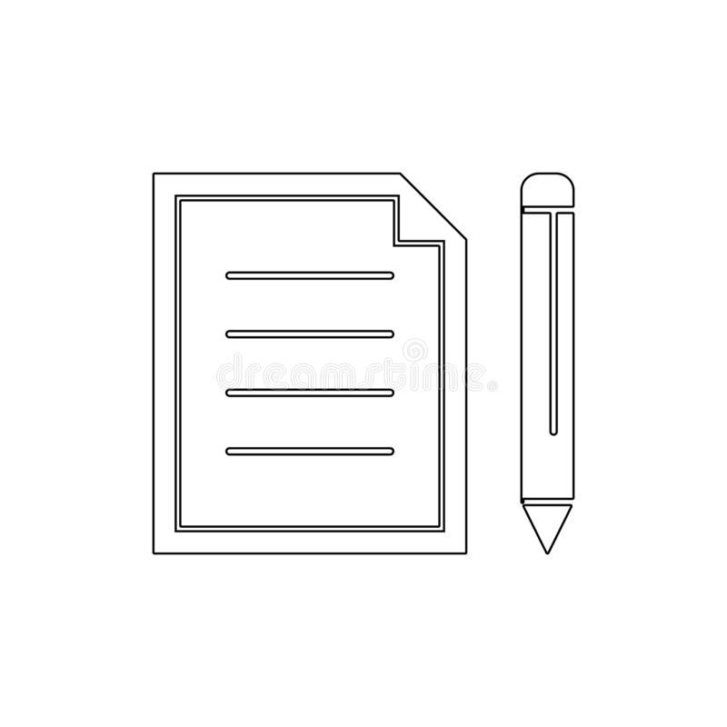 Compose documents edit new paper pencil write outline icon. Signs and symbols can be used for web, logo, mobile app, UI, UX royalty free illustration