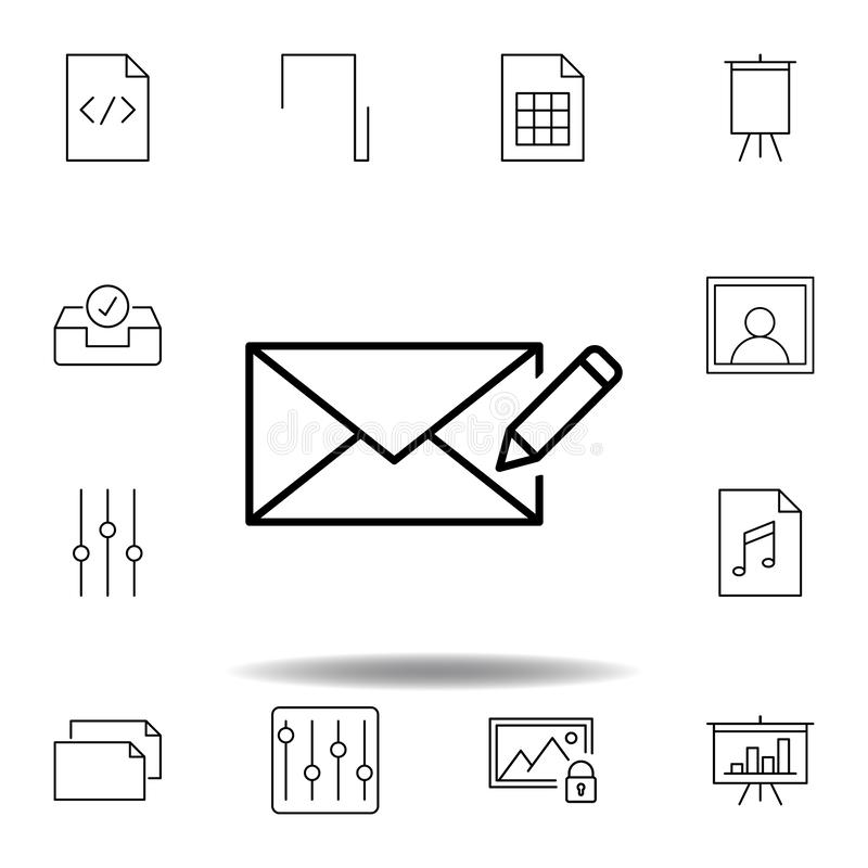 Compose edit write outline icon. Detailed set of unigrid multimedia illustrations icons. Can be used for web, logo, mobile app, UI. UX on white background royalty free illustration